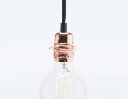Lampe suspension noire et cuivre